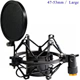 Etubby 47-53mm Microphone Shock Mount with Double Mesh Pop Filter & Screw Adapter, Adjustable Anti Vibration High Isolation Metal Mic Mount Holder Clip for Diameter of 47-53mm Microphone