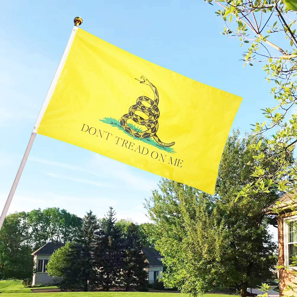 Tea Party Flags Polyester with Brass Grommets 3 X 5 Ft Dont Tread On Me Gadsden Flag Vivid Color and UV Fade Resistant Canvas Header and Double Stitched