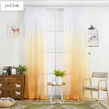 Nclon Farbverlauf Voile Vorhänge Gardinen,Leichtes Getriebe Atmungsaktive  Romantisch Balkon Schlafzimmer Vorhänge Gardinen Gelb