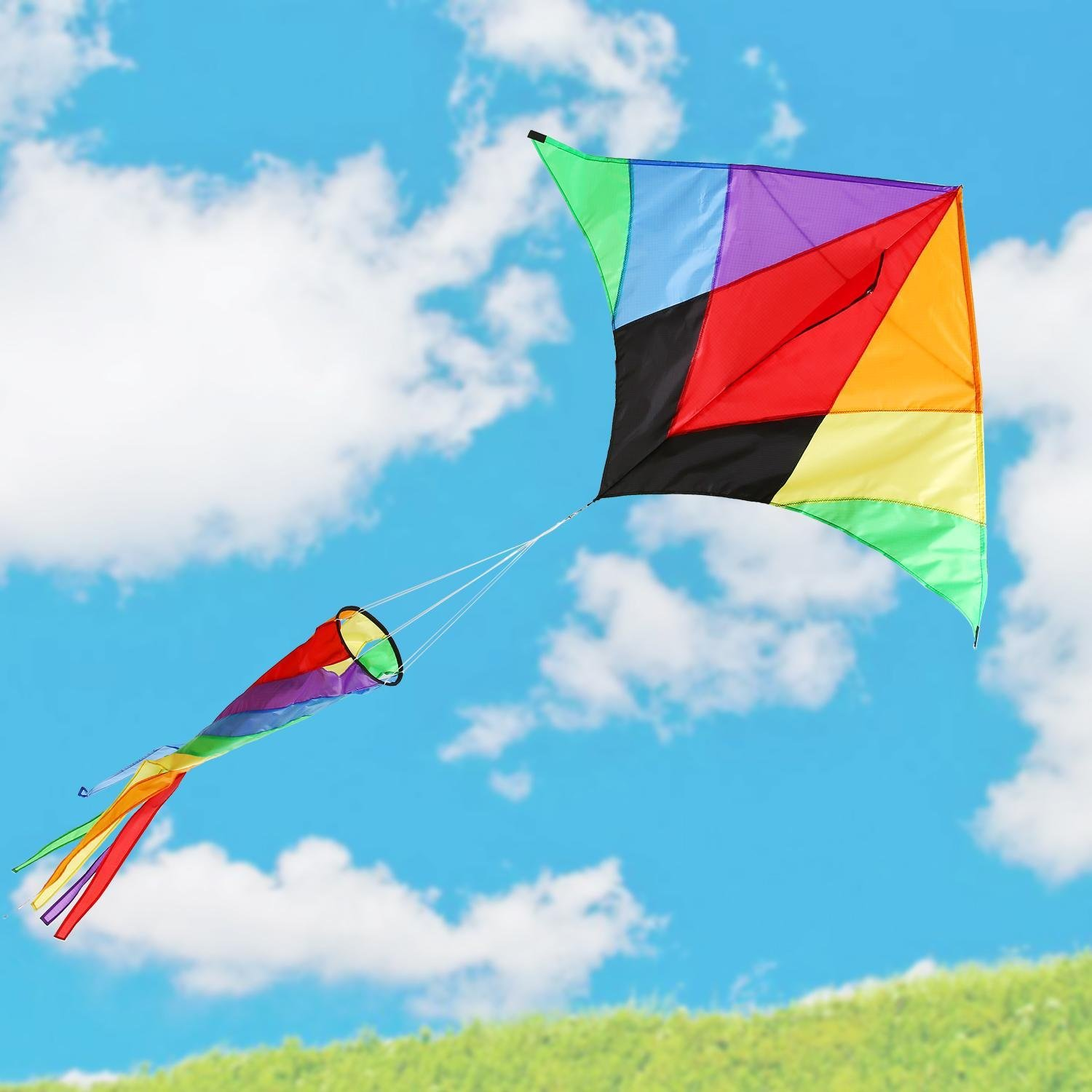 Dtemple Colorful Kite, Rainbow Kite/ Rainbow Delta Kite - Easy to Assemble, Launch, Fly - with Spinning Tail for Kids 3+ (US STOCK)