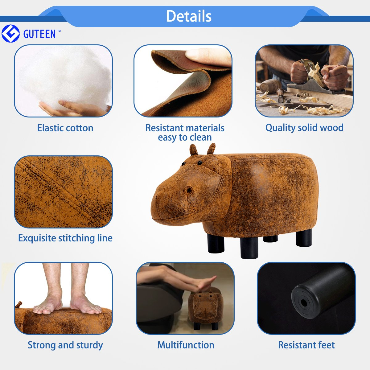 Guteen Upholstered Ride-on Toy Seat Ottoman Footrest Stool with Vivid Adorable Animal-Like Features(Brown Hippo) by GUTEEN (Image #3)