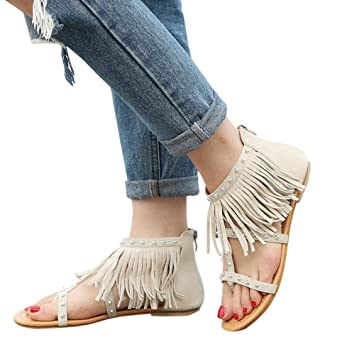 Damen SandalenSannysis Frauen Mode Einfarbig Niet Quasten Flache Ferse Sandalen Rom Schuhe Sommerschuhe Plattform