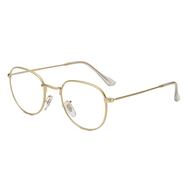 day spring online shop Classic Round Metal Clear Lens Glasses Frame Unisex Vintage Designer Circle Eyeglasses-gold tEjg5U3PSd