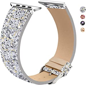 EurCross Sport Loop Band Compatible with Apple Watch 42mm 44mm Series 6/SE/5/4/3/2/1, Glitter Leather Band Replacement (Silver Gold 42mm/44mm)
