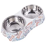 KLASKWARE Dog Bowls Double Stainless Steel Cat