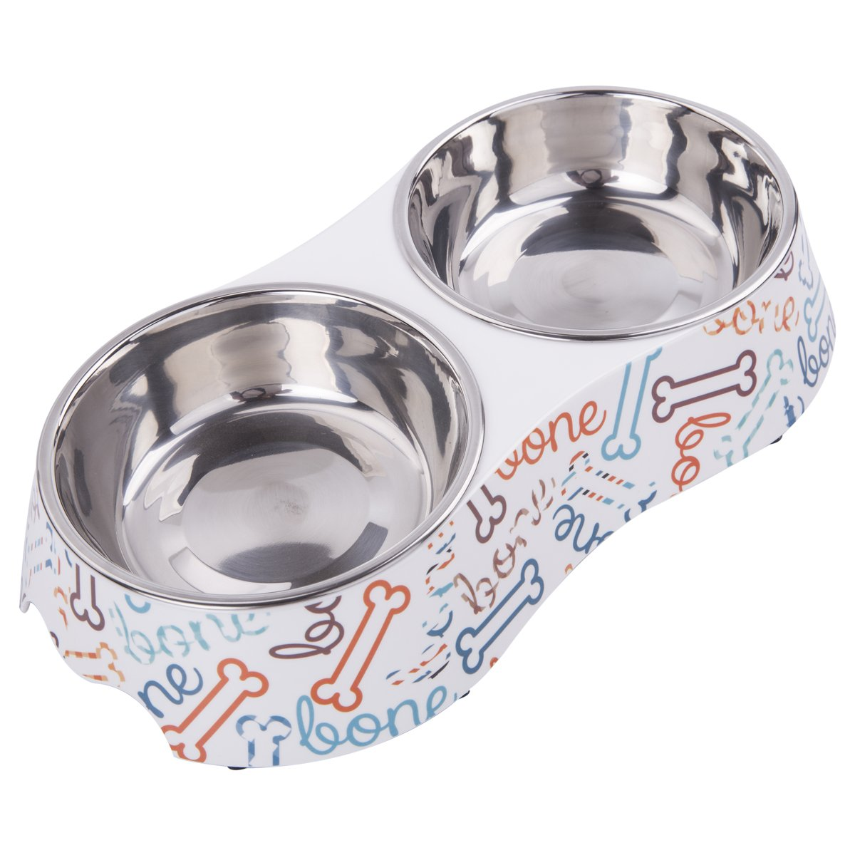 KLASKWARE Dog Bowls Double Stainless Steel Cat Dishes with Non-Skid Rubber Feet Pet Food Water Feeding Station for Dogs Cats Puppies and Kittens (Medium, Bone)