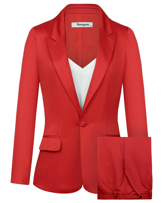 CMDC Women's 2 PC Business Casual Shawl Collar Formal Blazer Suit Pants Sets MI40 (Red, 8) by CMDC