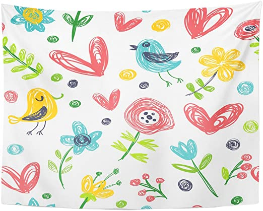 Tapestry Colorful Birds and Flowers Kid with Children Style Child Doodle Home Decor Wall Hanging for Living Room Bedroom Dormisette 50 x 60 Inches: Amazon.es: Juguetes y juegos