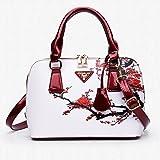 Bangle009 Elegant Chic Lady Shell Bag Cross Body Floral Print Faux Leather Handbag Gift White