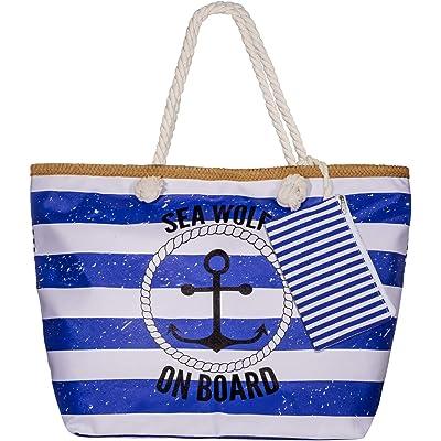 Diealles Bolsa de Playa de Lona Mujer Grande, Bolsa de Playa Grande con Cremallera para Mujeres y Niñas