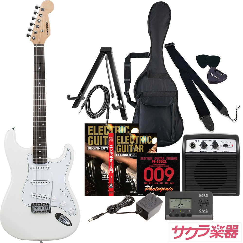 SELDER セルダー エレキギター ストラトキャスタータイプ ST-16/WH ホワイト サクラ楽器オリジナル初心者入門12点セット B0771BPNFC WH/ホワイト