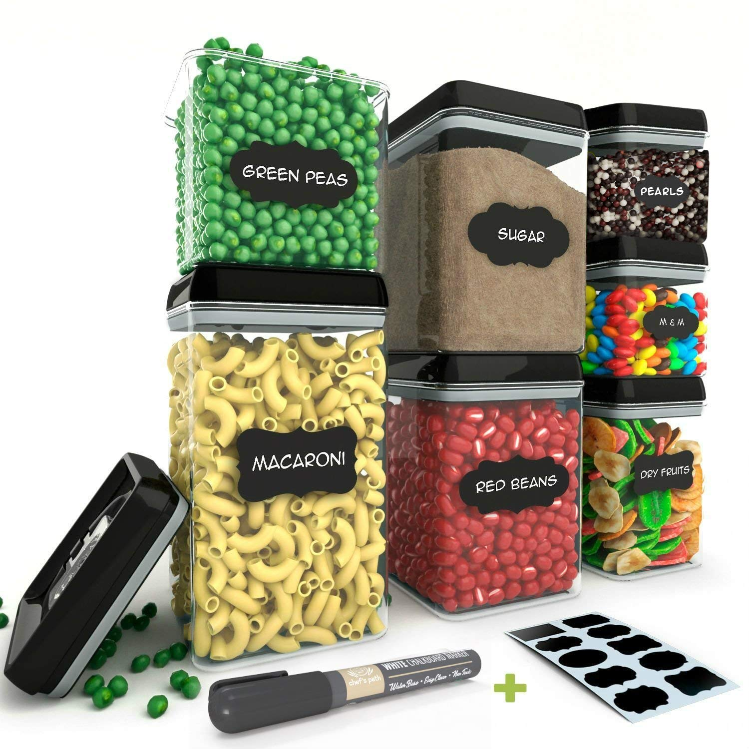 Chef's Path Airtight Food Storage Container Set - 7 PC Set - 10 FREE Chalkboard Labels & Marker - BEST VALUE Kitchen & Pantry Containers - BPA Free - Clear Durable Plastic with Black Lids Chef's Path CP-008