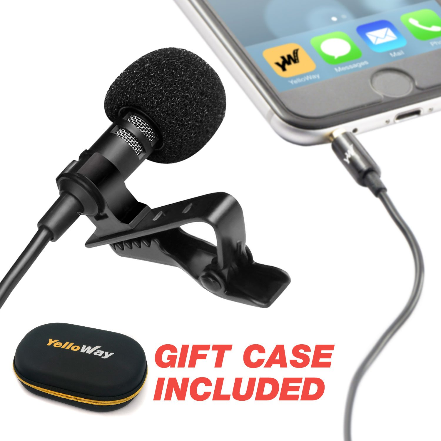 Professional Grade Lavalier Lapel Microphone - For Youtube Interviews & Podcasting & Live Streaming & Video - Perfect Lav Mic for Recording on Iphone 5, 6, 6s, 7 plus, 8, X - External Mic with Clip On