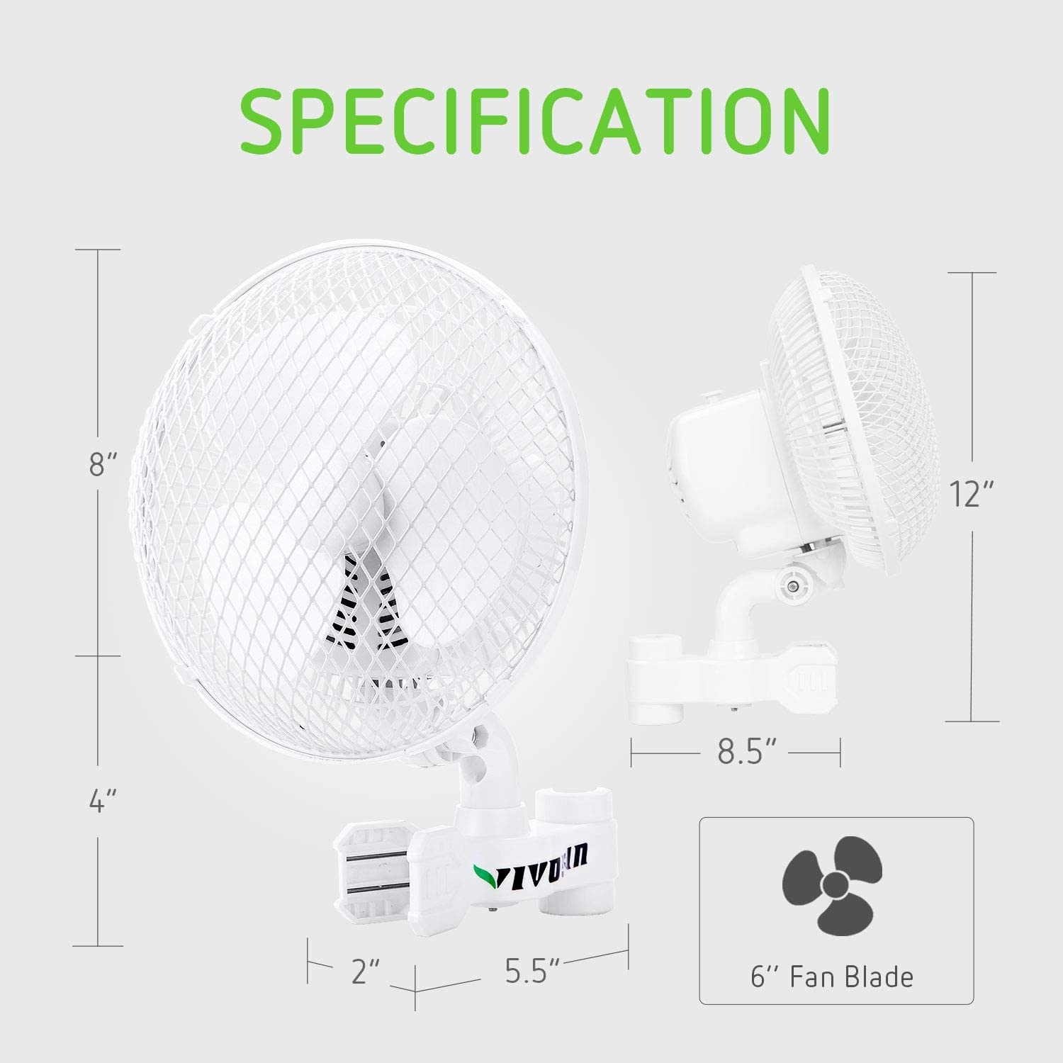 VIVOSUN 2-Pack 6 Inch Clip on Oscillating Fan Fit for 0.59 to 1 Inch Grow Tent Pole with 2-Speed Control