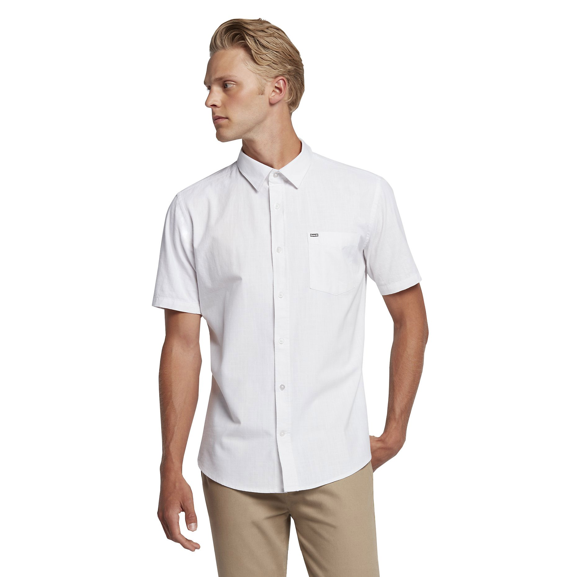 Hurley MVS0003780 Men's One And Only Short Sleeve Shirt, White - M