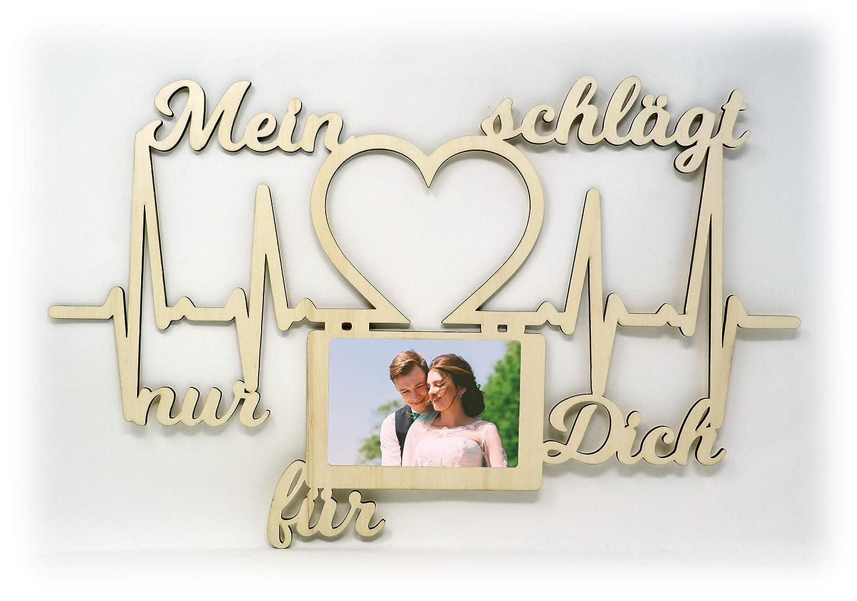 Holz Bilderrahmen 10x15 cm Mein Herz schlägt nur für Dich Geschenk ...