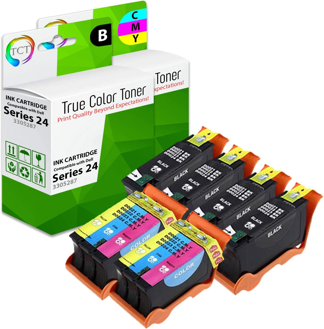 2 Pack 1 Black 330-5287, 1 Color 330-3288 TCT Compatible Ink Cartridge Replacement for Dell 24 Series T109N T110N Works with Dell P713w V715w Printers