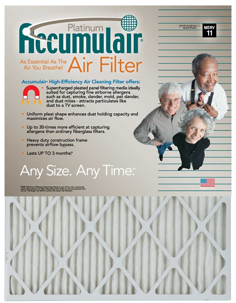 29-1/2x35-3/4x2 (Actual Size) Accumulair Platinum Geothermal Bryant & Carrier Filter MERV 11 4-Pack