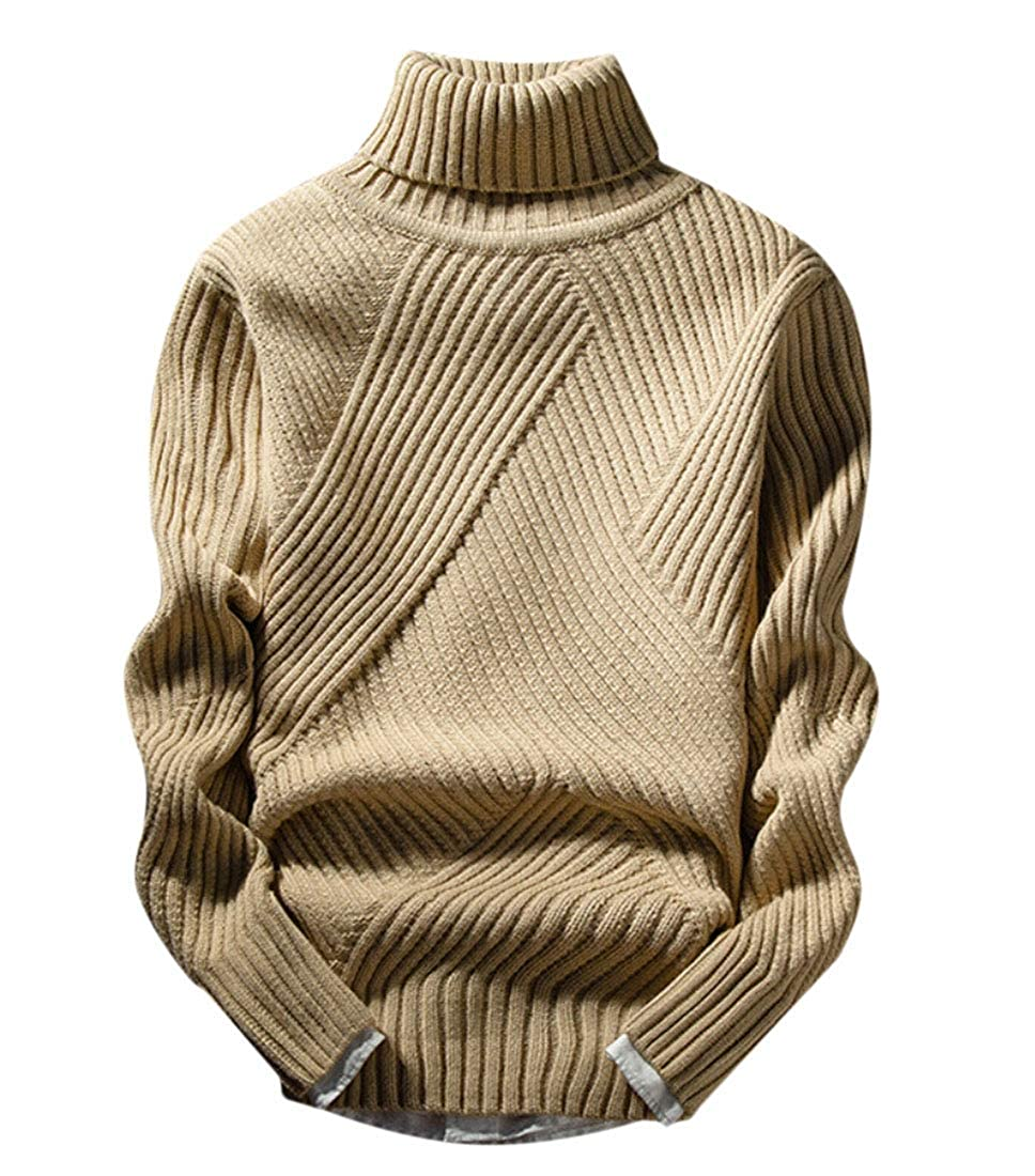 KLJR Men Winner Shawl Collar Slim Fit Pullover Casual Knit Ribbed Sweaters