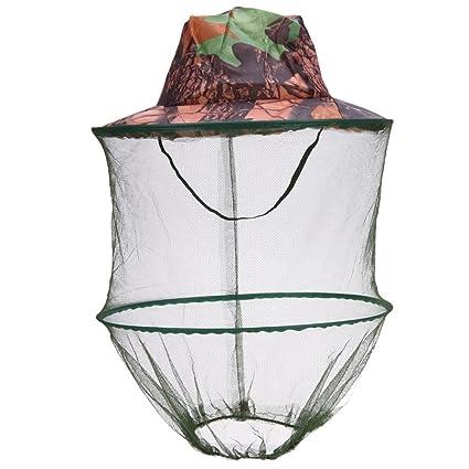TOOGOO Sombrero de camuflaje para pesca Abeja con mosquitero Insectos  Mosquitera Gorra de prevencion Malla Gorra 7d912afe9b6