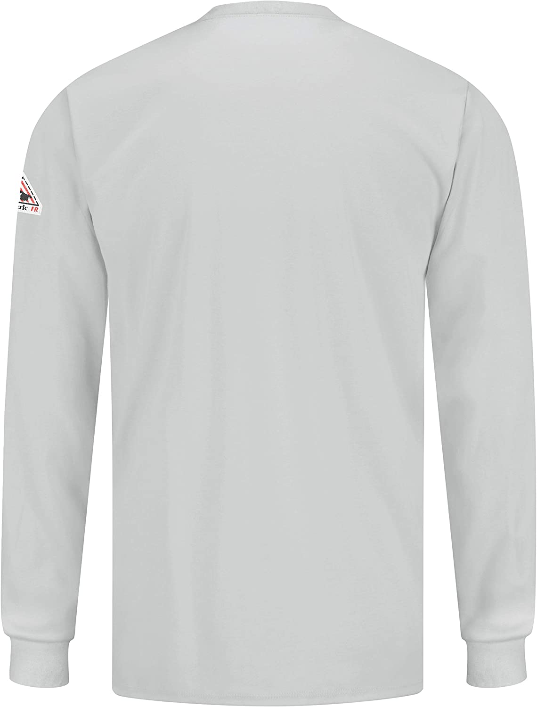 Bulwark Flame Resistant 6.25 oz Cotton Long Sleeve Tagless T-Shirt Grey Small Rib-Knit Cuff