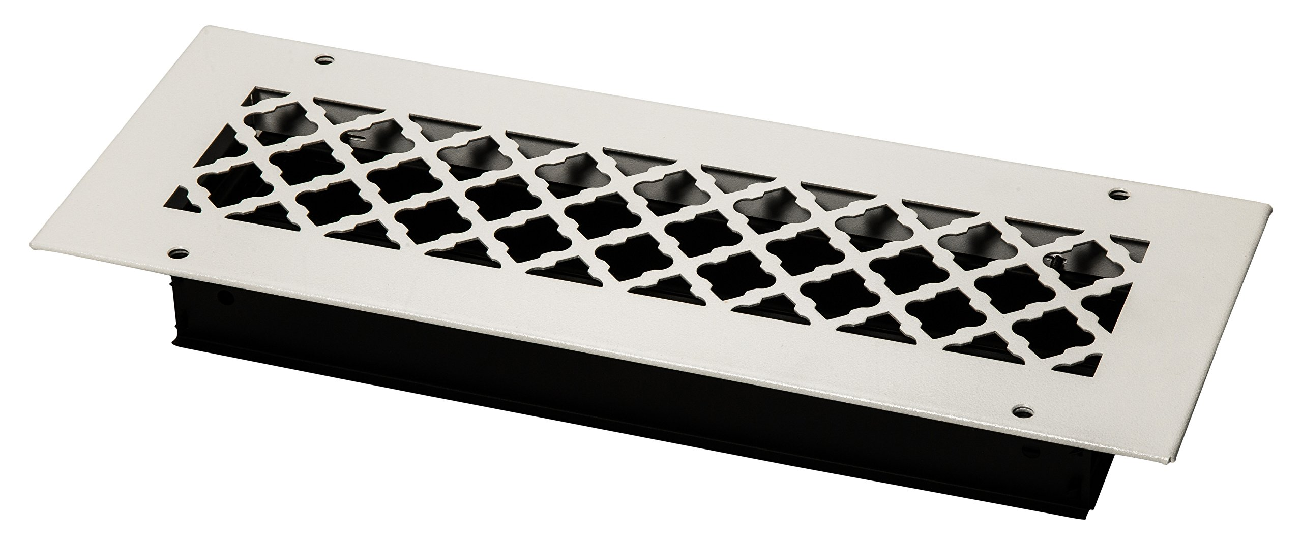 SteelCrest BTU14X4SWHH Bronze Series Designer Wall/Ceiling Vent Cover, with Mounting Screws, White