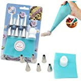 8-Piece Cake Decorating Tools Set Includes 6 Size Nozzles Tips 1 Reusable Silicone Icing Piping Bag 1 Coupling Coupler (Blue)