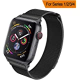 HILIMNY Strap Compatible with apple watch 42MM 44MM, Milanese sport Loop, Stainless Steel Mesh Band, Compatible with iWatch Series 4, Series 3 Series 2 Series 1 (42MM 44MM, Black)