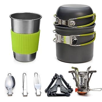 Odoland Utensilios Cocina Camping Kit con 1.2 L Ollas Camping y 0.6 L Sartén de Aluminio, Estufa Trekking, Taza de Acero Inoxidable, Cubiertos ...
