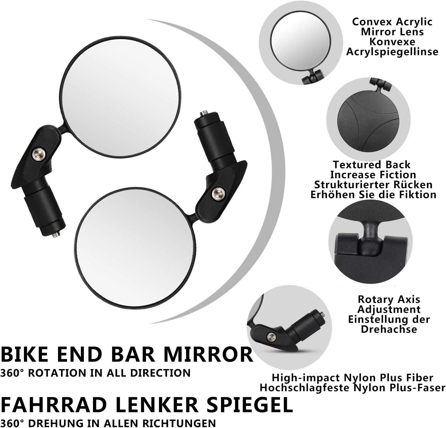 NOLOGO Gxbld-yy 1 Paar Praktische Fahrradlenkerende Spiegel 360 drehender Bike Seitenr/ückspiegel Radfahren Zubeh/ör Teile