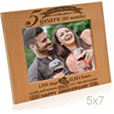 Kate Posh - 5 Years (60 months) Anniversary - Includes 2012 (Marriage Year) and 2017 (5th Anniversary Year) - Engraved Natural Solid Wood Picture Frame and Wall Decor (5x7-Horizontal)