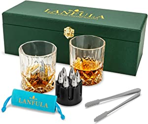 LANFULA Crystal Whiskey Glass And Bullets Stones Set - Perfect For Scotch, Bourbon And Old Fashioned Cocktail - Luxury Leather Gift Box For Men Or Best Friends