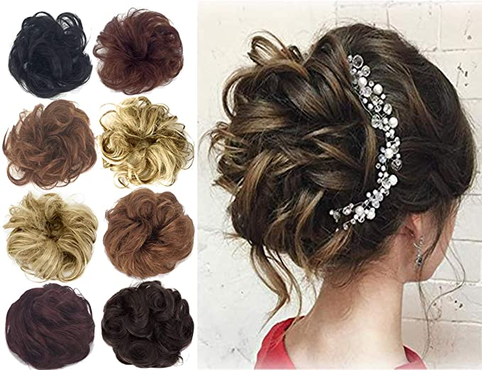 Amazon Com Human Hair Bun Extensions Messy Wavy Curly