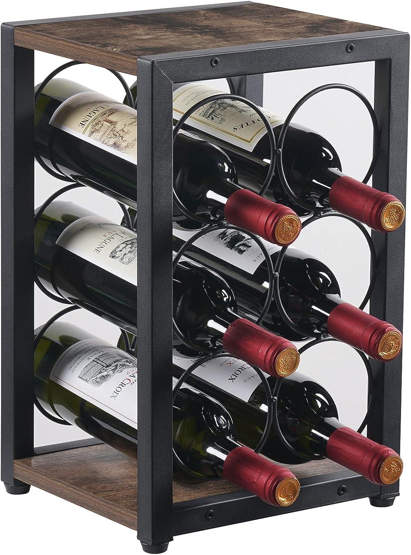 Giikin Industrial Countertop Wine Rack 6 Bottles, 3 Tier Free Standing Tabletop Wine Bottle Holder Stand, Wood & Iron Organizer Storage Shelf for Home Decor, Bar, Cellar, Pantry, Cabinet (Retro Color)