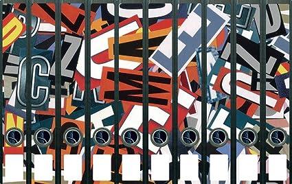 Archivadores pegatinas de letras varios - tamaño 38 x 30 cm, compatible con 10 archivadores