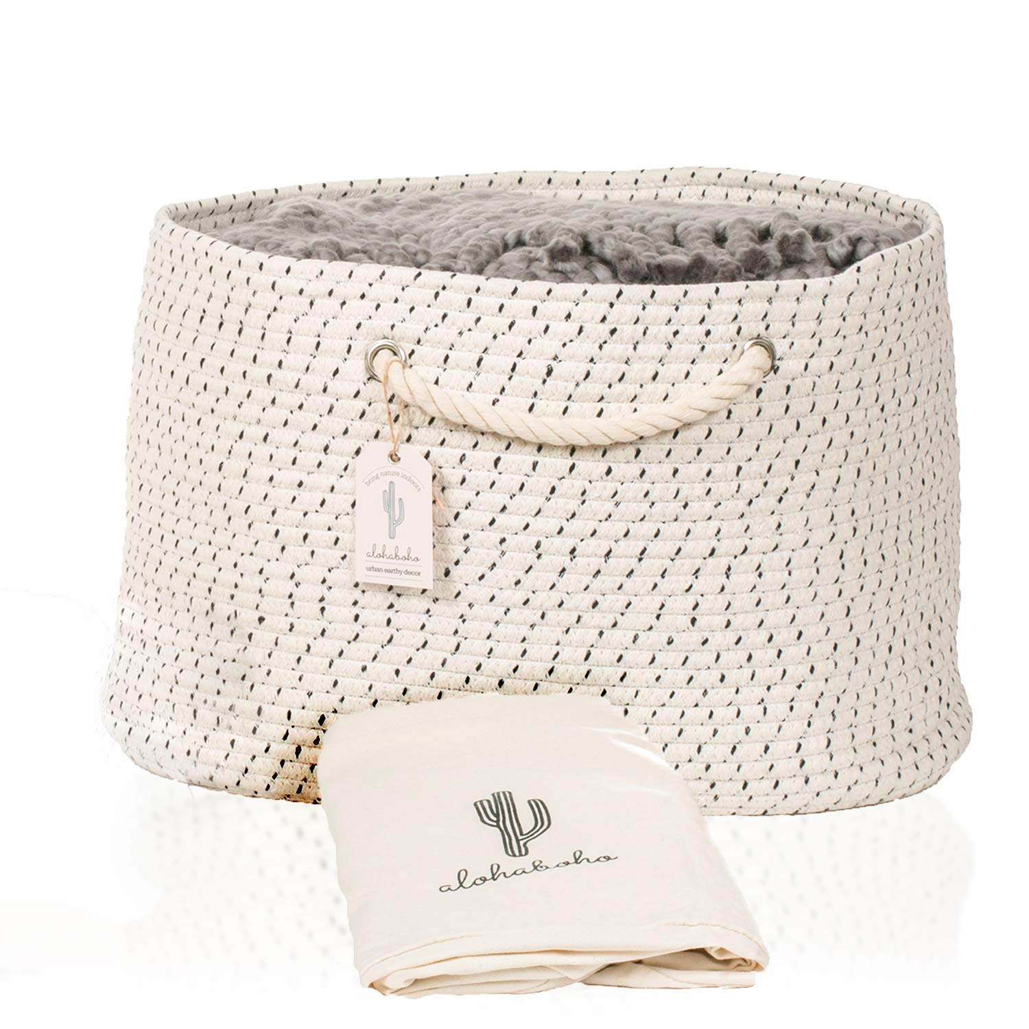 XXL Extra Large Cotton Rope Basket Includes Laundry Bag | Wide Storage Organizer for Living Room, Blankets, Sofa Throws, Nursery, Baby Kids Toys, Playroom: 20'' x 14 Hand Woven Storage Hamper by alohaboho