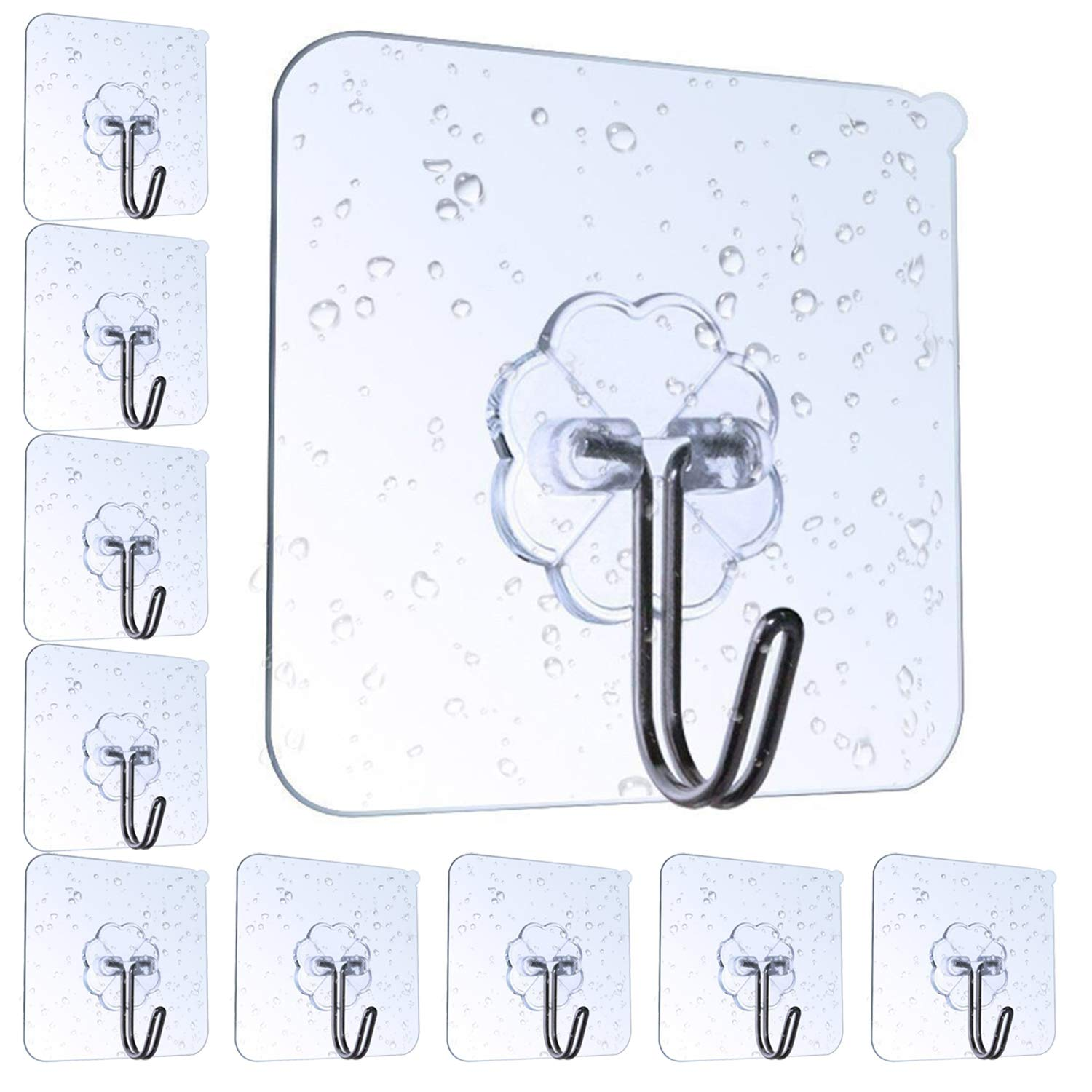 AOMEES Adhesive Hooks Adhesive Wall Hooks Heavy Duty Wall Hooks 8kg (Max) Self Adhesive Hook Clear Hooks Wall Hanger 90 Degree Rotating Without Nails Bathroom Transparent Hook Reusable Waterproof and Oilproof Hooks Without Borhren Clothes Hooks Towel Hook