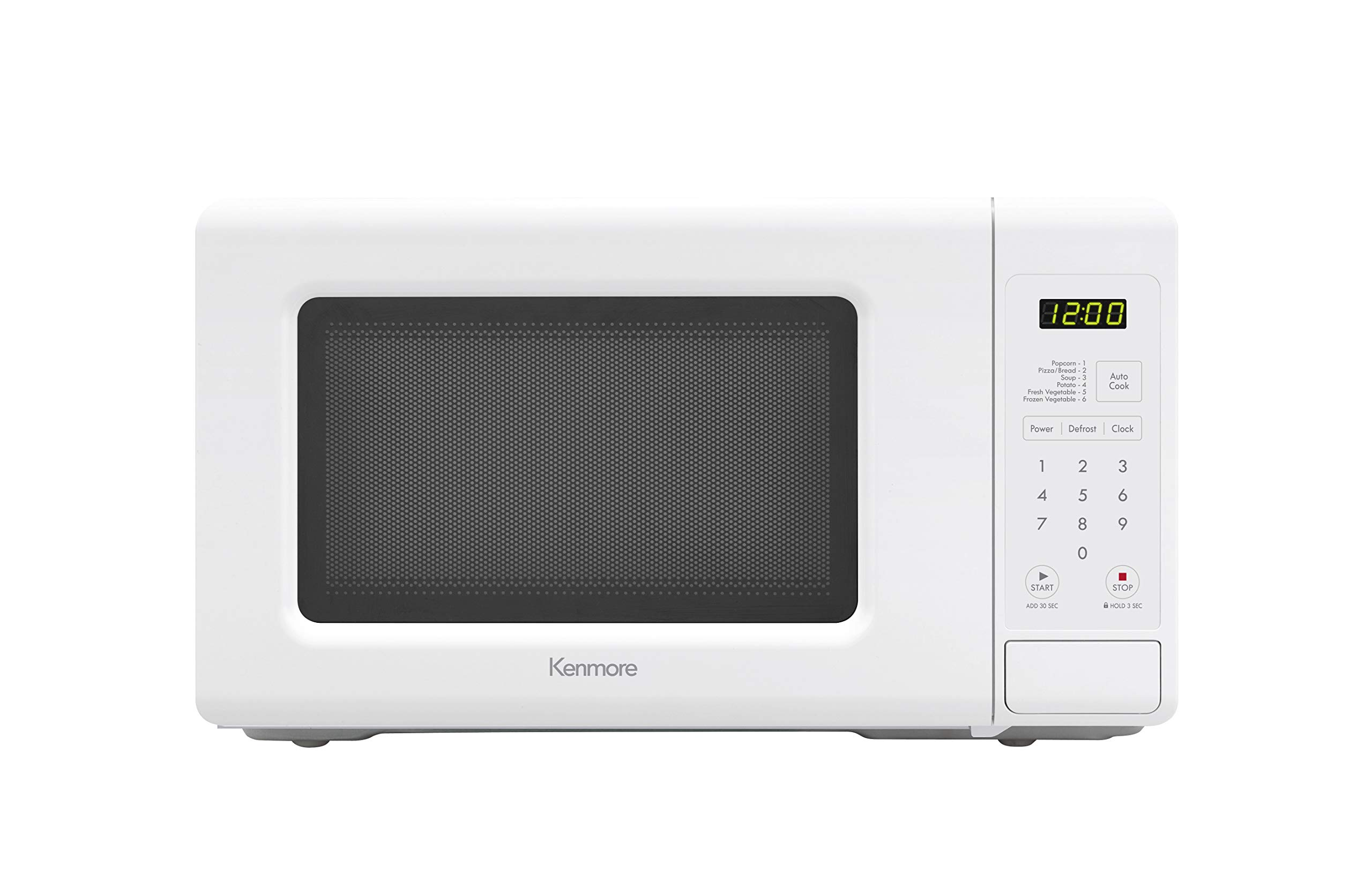 Kenmore 70722 0.7 cu. ft Compact 700 Watts 10 Power Settings, 6 Heating Presets, Removable Turntable, ADA Compliant Small Countertop Microwave, cu.ft, White by Kenmore