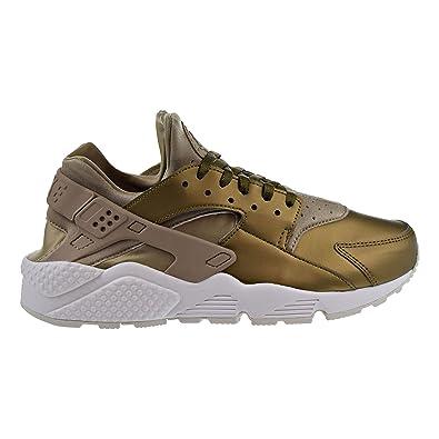Nike Womens Air Huarache Run Prm Txt Shoes Khaki/Summit White AA0523-201