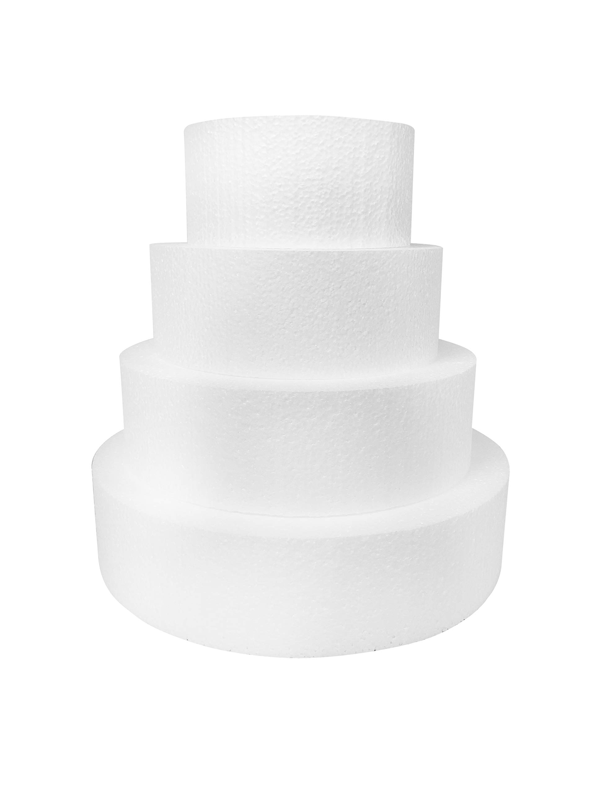 Round 4'' Cake Dummies - Set Of 4, Each 4'' High by 6'', 8'', 10'', 12'' Round by Shape Innovation, Inc. (Image #1)