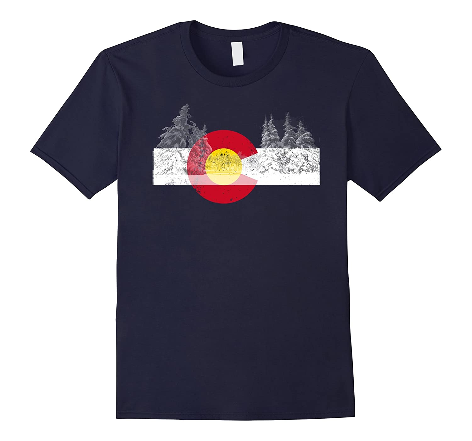 Colorado State Flag T-Shirt Mountain Vintage Ski TShirt Gift-T-Shirt