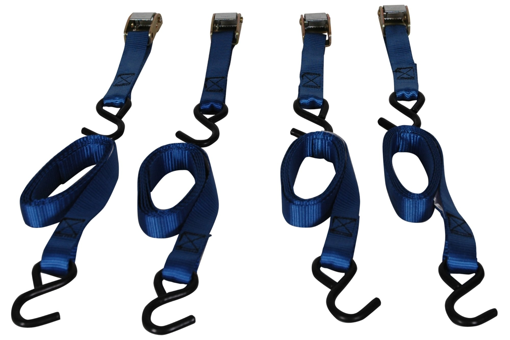 Highland 9210600 6' Blue Cambuckle Tie Down with Hooks - 4 piece