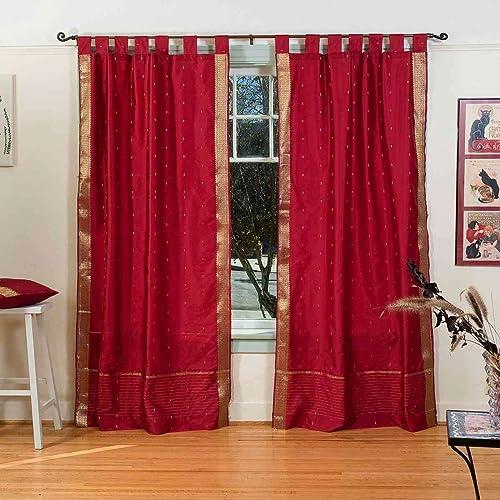 Indian Selections Lined-Maroon Tab Top Sheer Sari Curtain/Drape/Panel