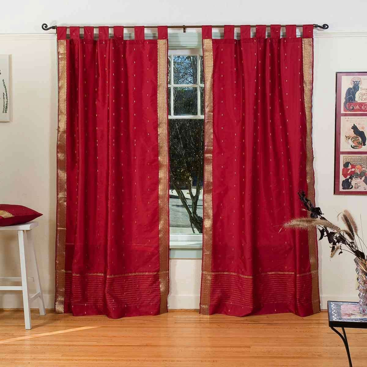 Indian Selections Lined-Maroon Tab Top Sheer Sari Cafe Curtain/Drape - 43W x 24L - Piece