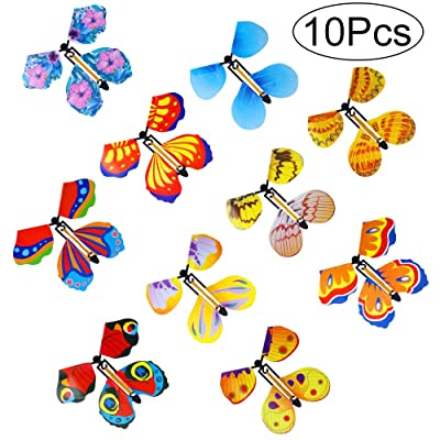Outee 10 Packs Magic Flying Butterfly Wind Up Butterfly in The Book Rubber Band Powered Magic Fairy Flying Toy Great Surprise Gift: Toys & Games