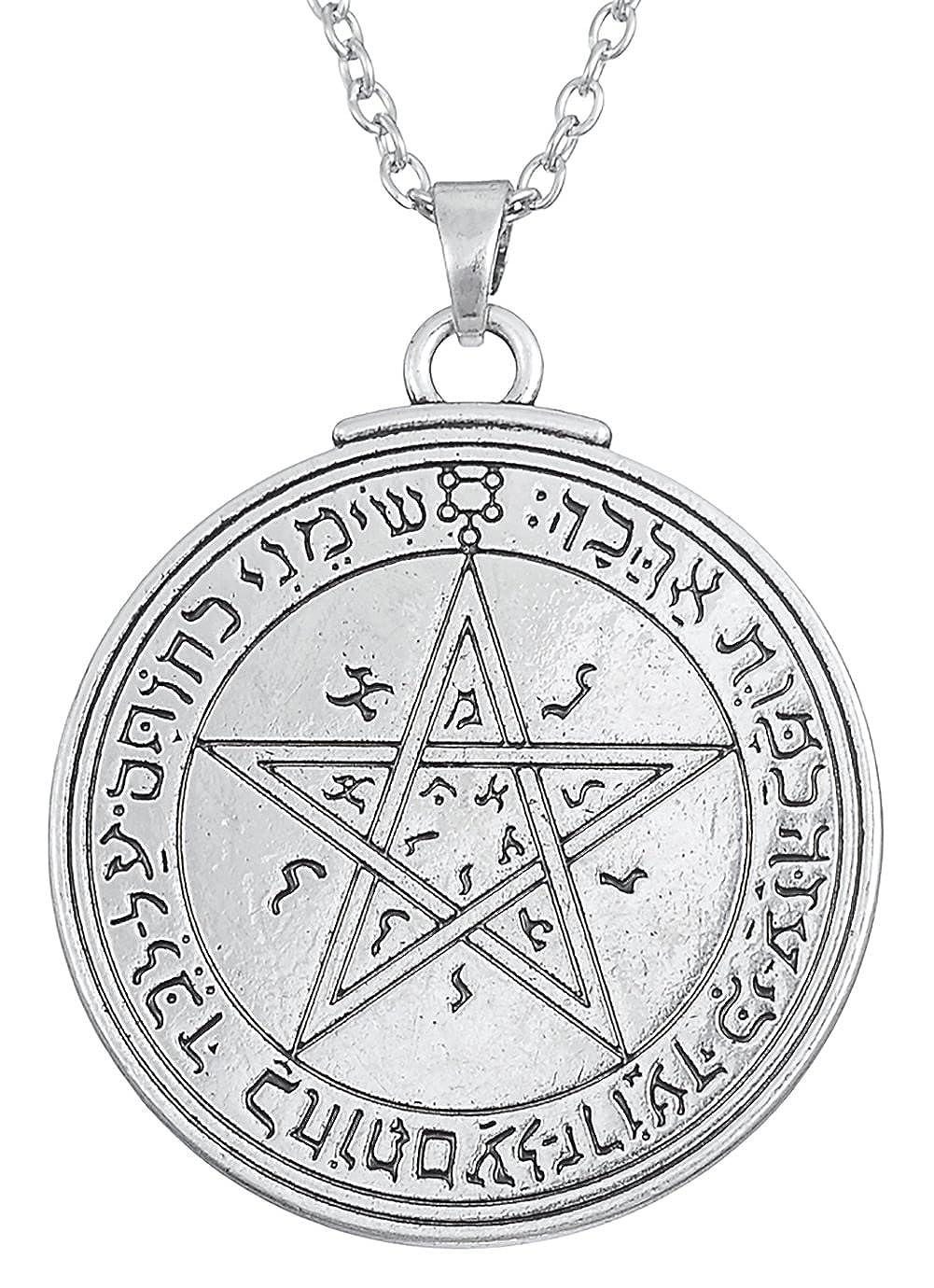 Dawapara Vintage Pendentif Talisman Amulette Pentacle Sceau du Venus du Roi Salomon Collier Bijoux pour Homme ou Femme YiYou