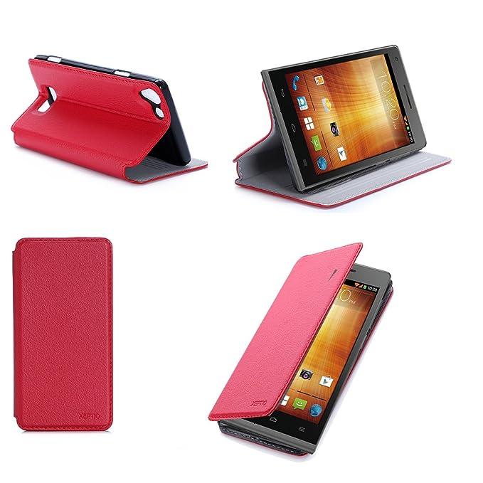 4 opinioni per Rosso Custodia Pelle per Huawei Ascend G535 4G smartphone- Flip Case Funda Cover