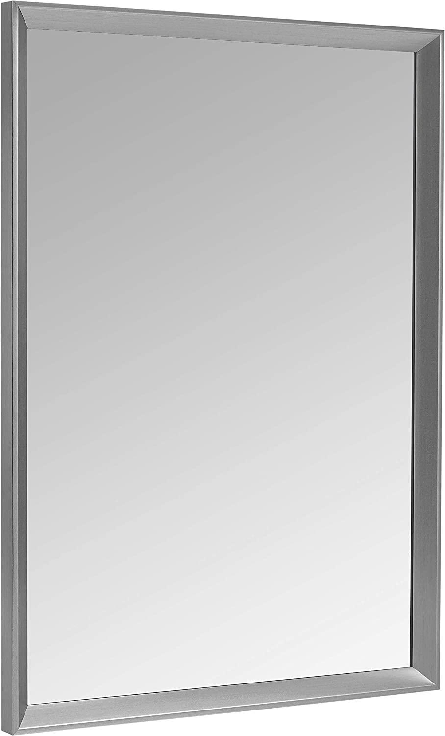 "AmazonBasics Rectangular Wall Mirror - 20"" x 28"", Peaked Trim, Nickel"