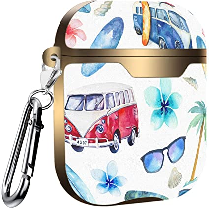 Compatible with AirPods 2 and 1 Hippie Lines Shockproof Soft TPU Gel Case Cover with Keychain Carabiner for Apple AirPods