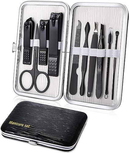 Set Manicura Profesional Cortaúñas Acero Inoxidable Grooming Kit para viajar - Set de 10 Piezas para Manicura y Pedicura (Negro): Amazon.es: Belleza